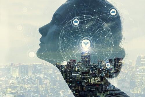 L'esprit d'une femme avec des symboles numériques symbolisant le moment où l'on n'arrête pas de penser à tout